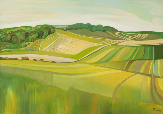 Anna Dillon The Artist Painting Of The Berkshire Downs